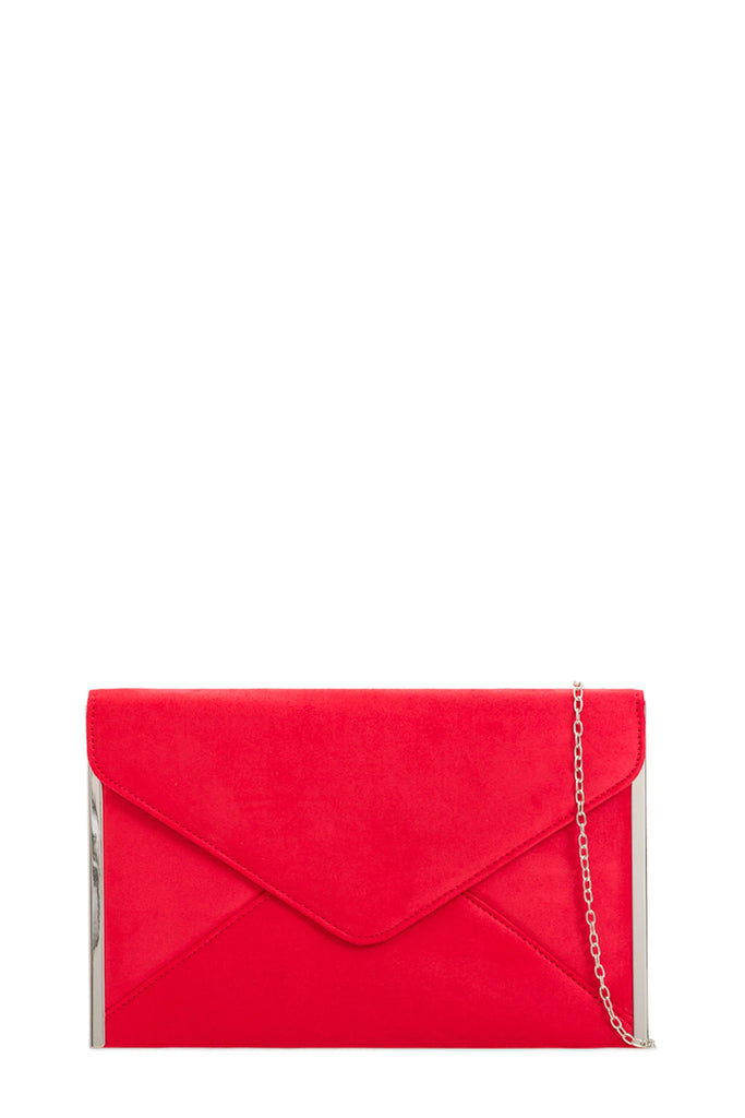 Dido Red Suede Envelope Clutch Bag