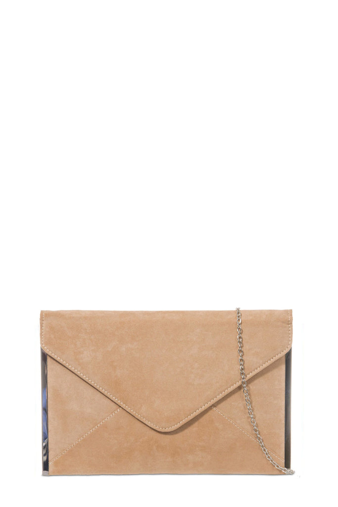 Dido Tan Suede Envelope Clutch Bag