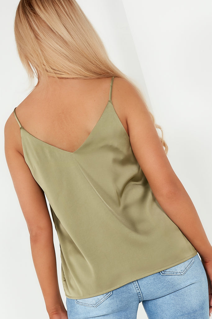 Dillie Khaki Satin V Neck Cami
