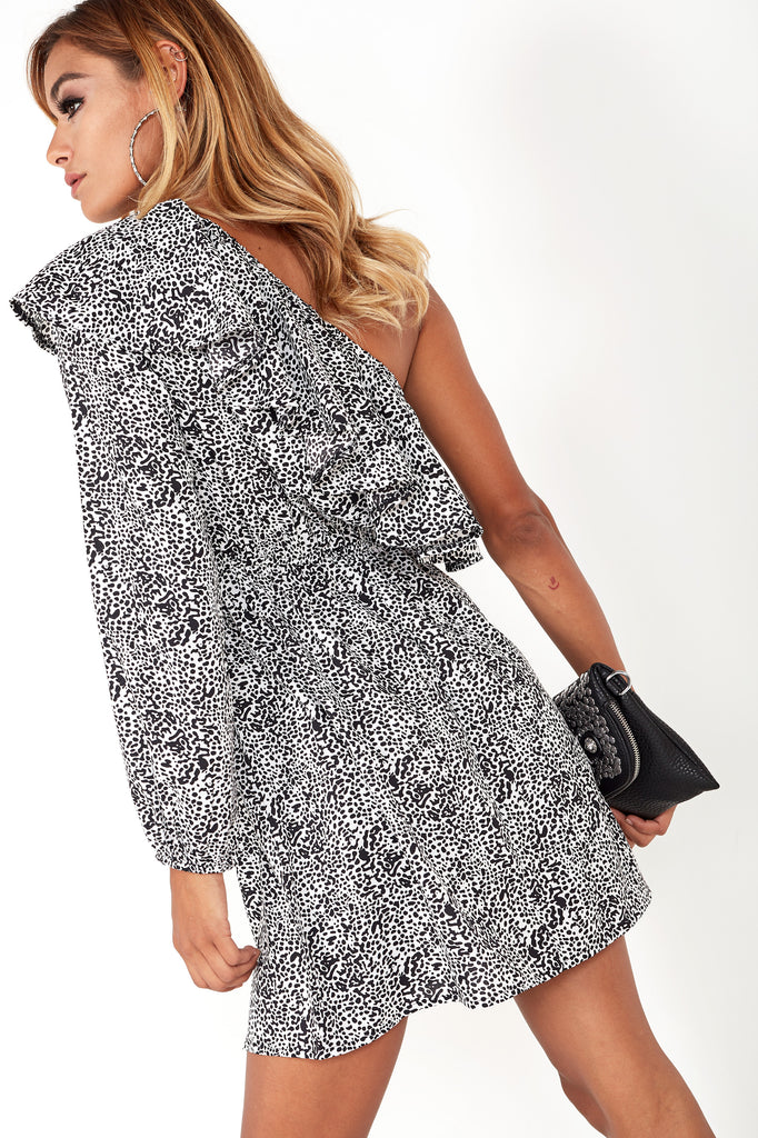Dilly Monochrome Animal Print One Shoulder Dress