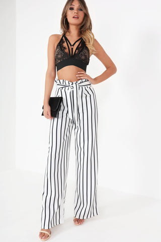 758ce7f14758 Dione White Striped Wide Leg Trousers | Vavavoom.ie