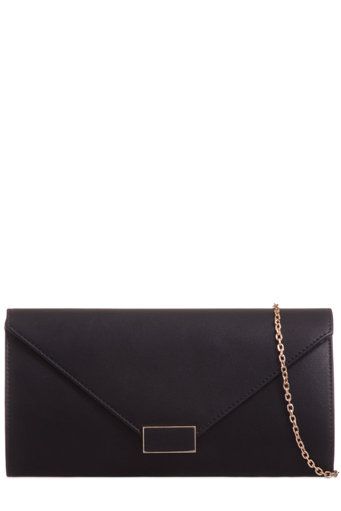 Diplo Black Leatherette Envelope Clutch Bag