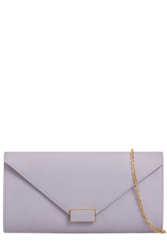 Diplo Grey Leatherette Envelope Clutch Bag