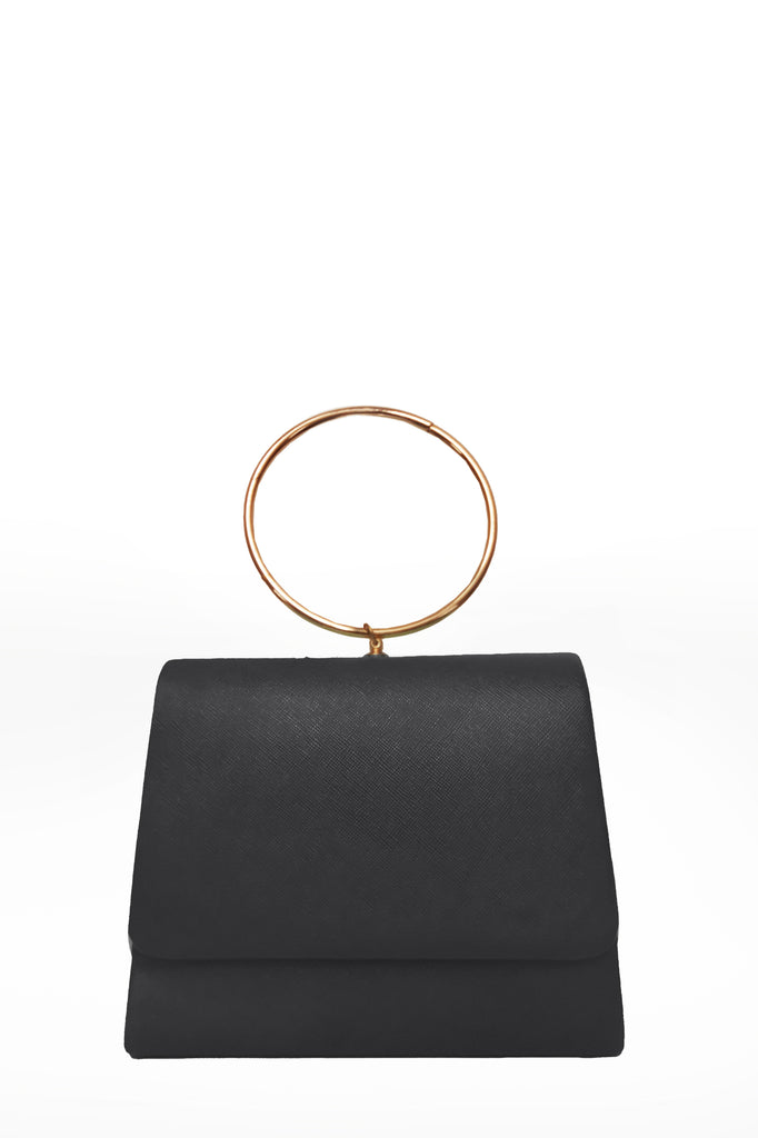 Dita Black Leatherette Ring Handle Bag