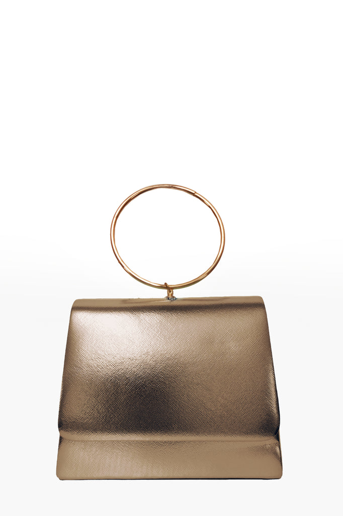 Dita Gold Leatherette Ring Handle Bag