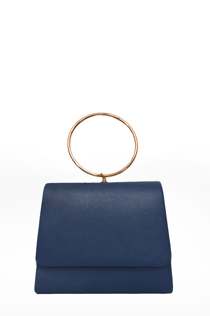 Dita Navy Leatherette Ring Handle Bag
