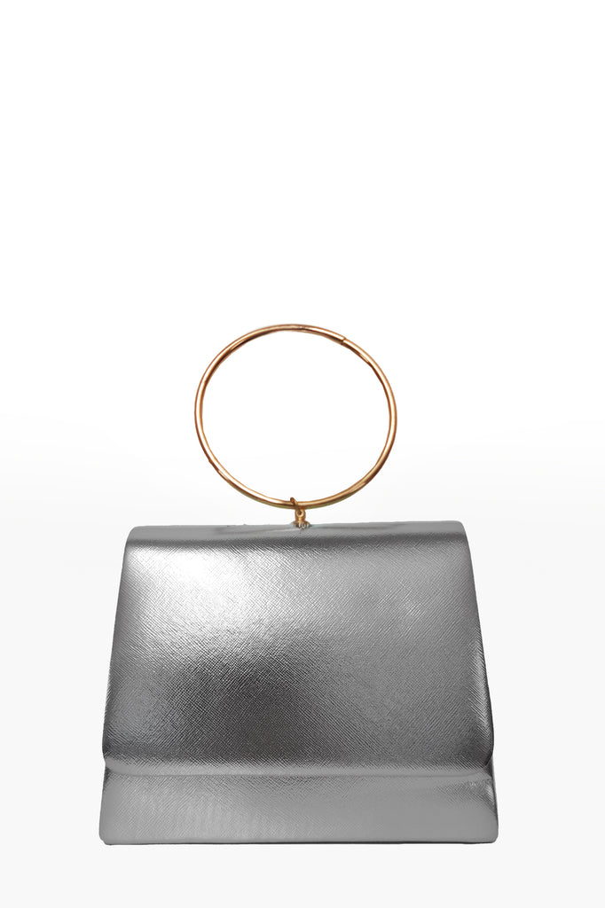 Dita Silver Leatherette Ring Handle Bag