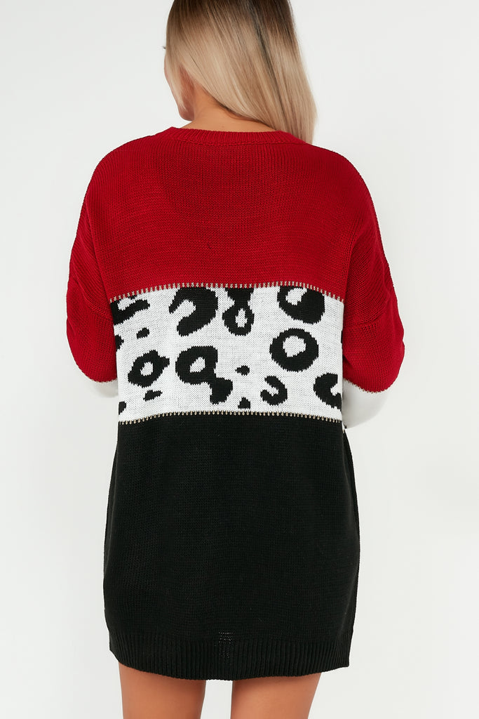 Dixie Red Knit Animal Print Longline Jumper