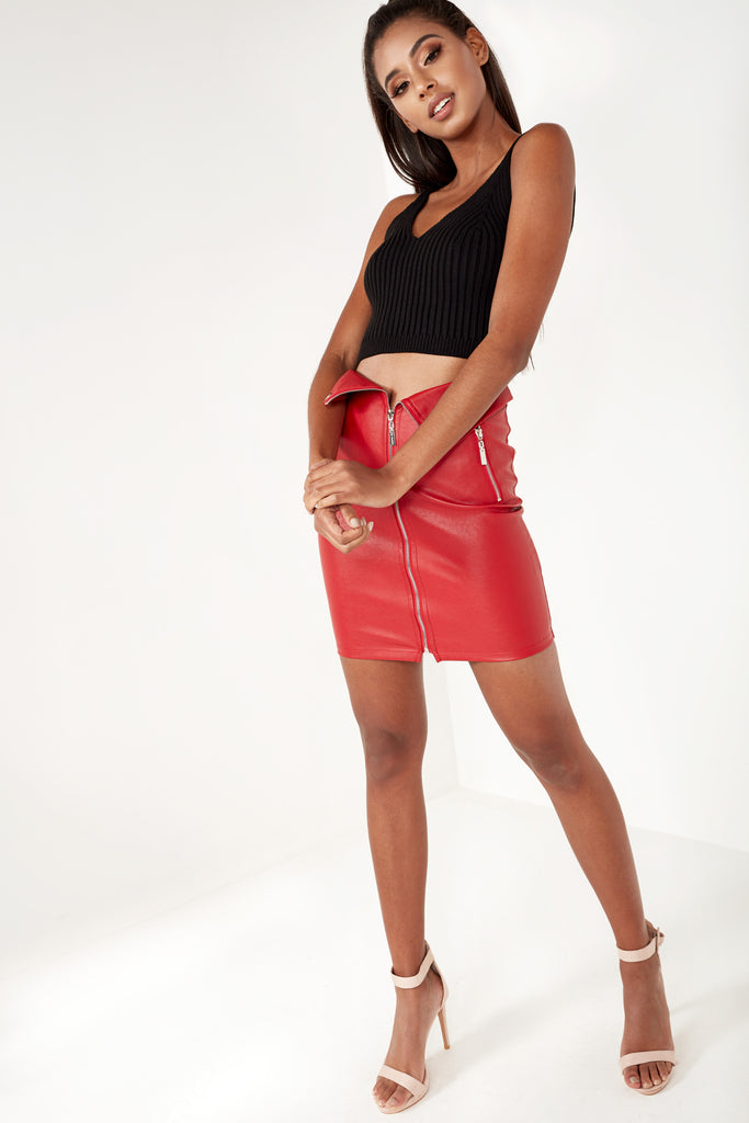 Dixie Red Leatherette Zip Detail Skirt