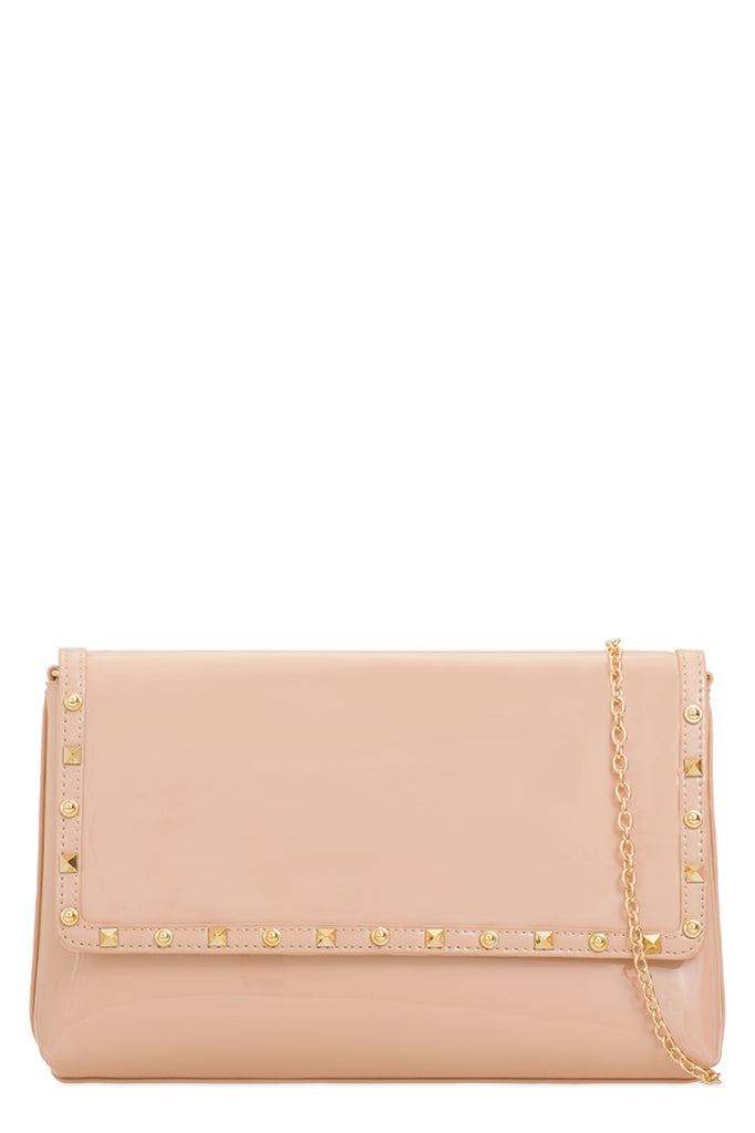 Doby Nude Patent Clutch Bag