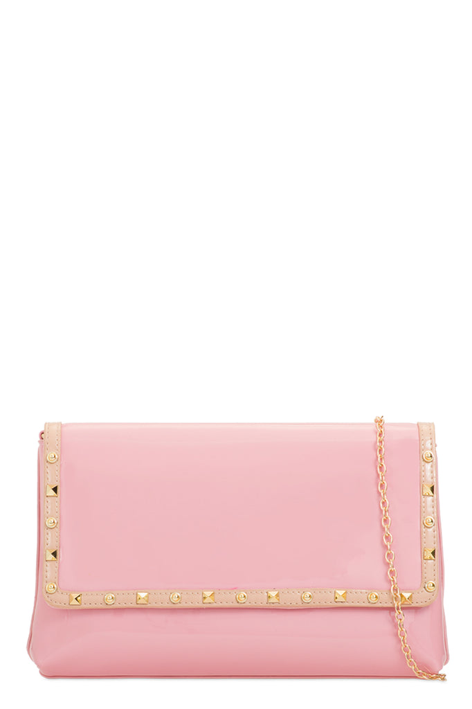 Doby Pink Patent Clutch Bag