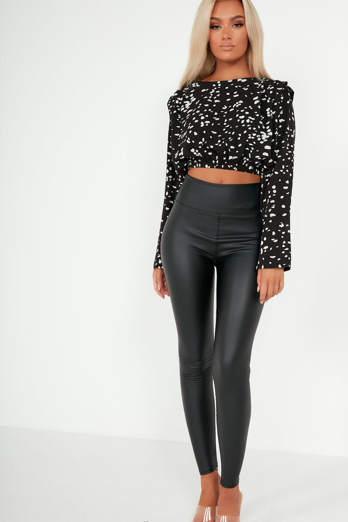 Dodi Black Abstract Print Crop Top