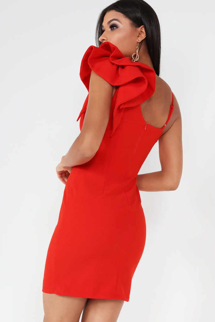 Dodi Red Ruffle Shoulder Dress