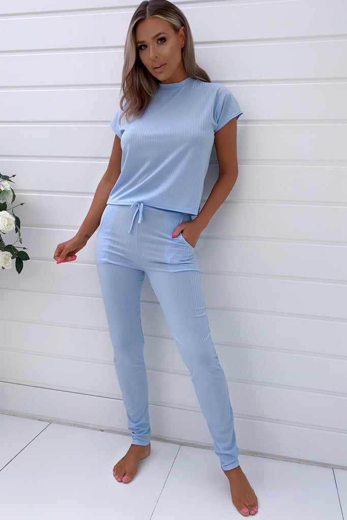 Doll Light Blue Ribbed Trouser Co-Ord