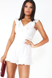 Dollie White Frill Wrap Over Playsuit (1308035743852)