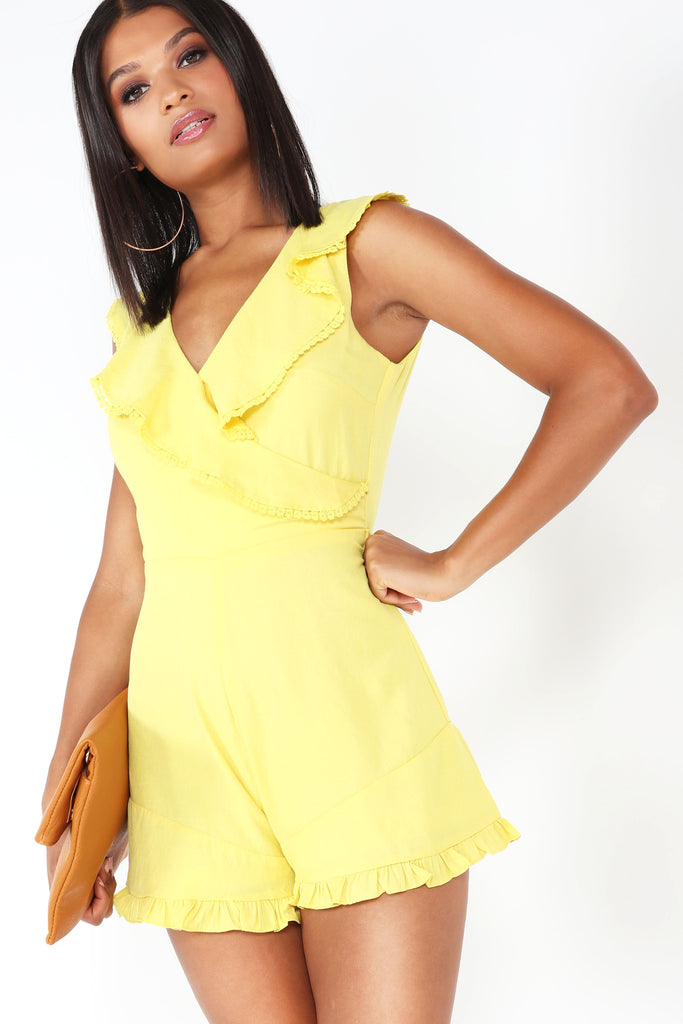 Dollie Yellow Frill Wrap Over Playsuit (1308035448940)