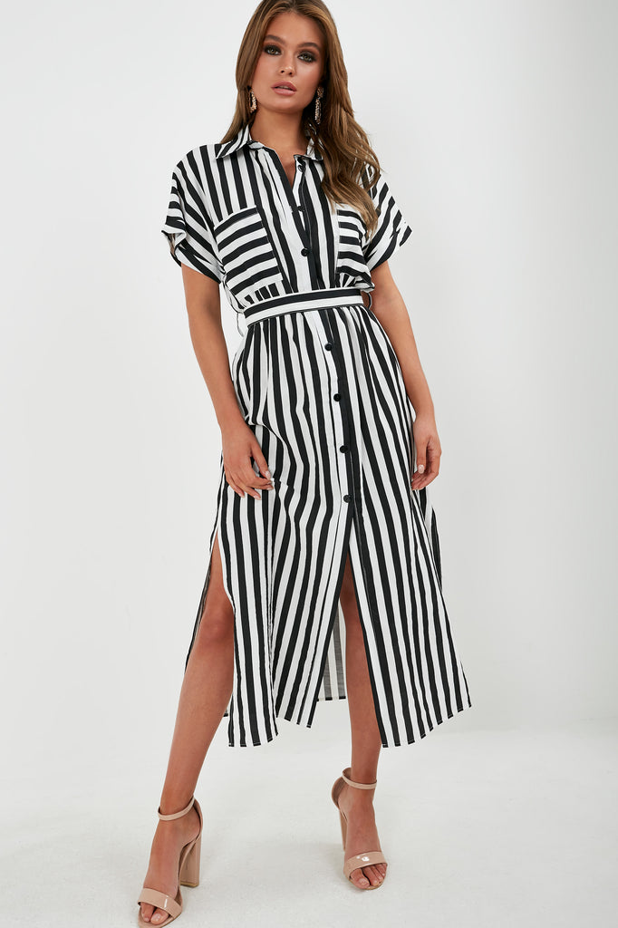 ae653b8ad7a Dolly Monochrome Striped Maxi Shirt Dress