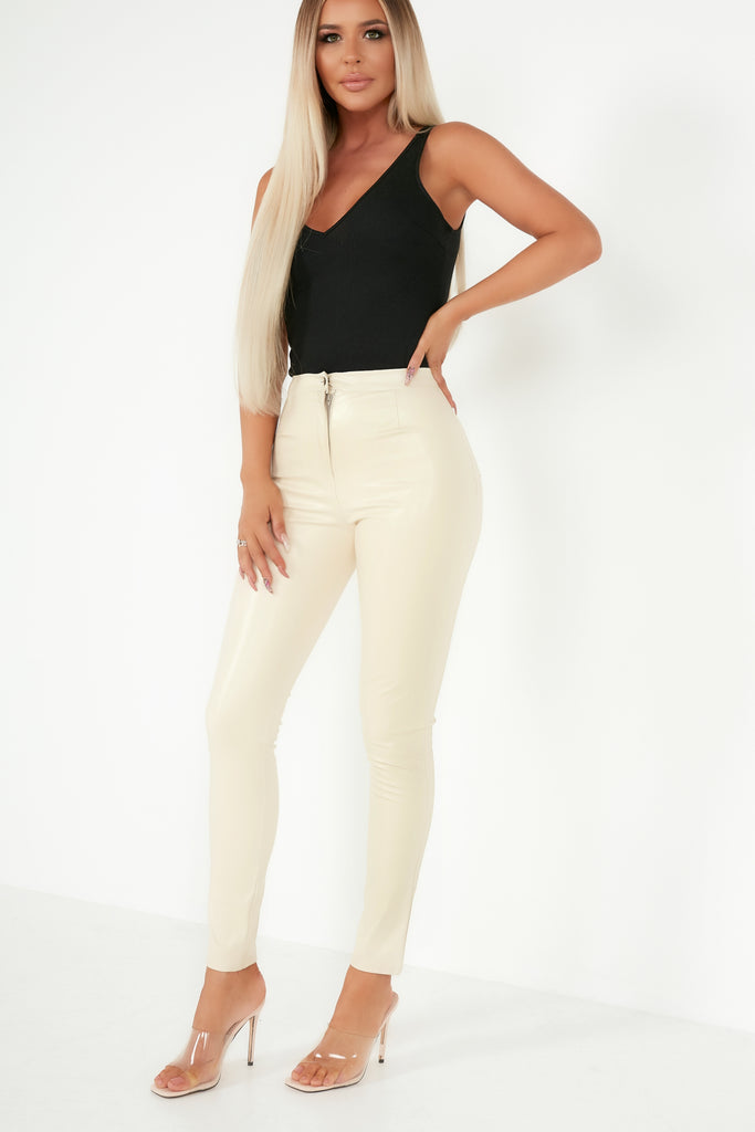 Dolores Cream Faux Leather Skinny Trousers