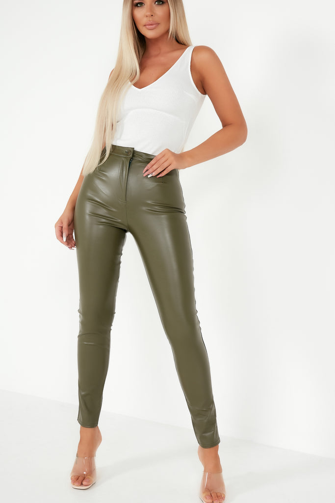 Dolores Khaki Faux Leather Skinny Trousers