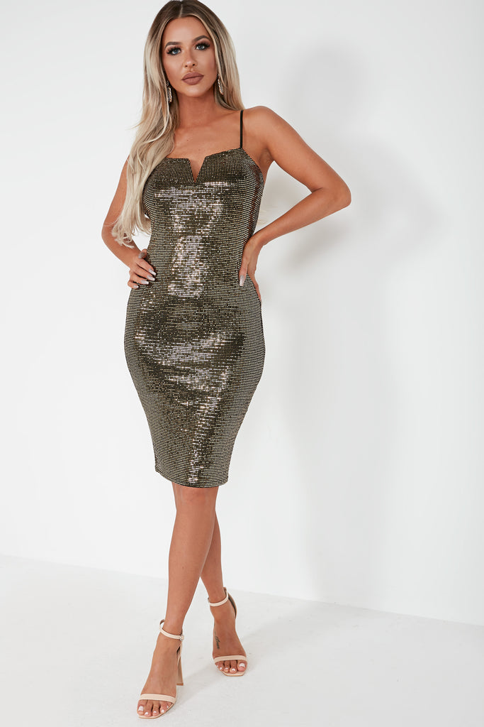 Dominique Gold Sequin Cami Dress (1684991901762)