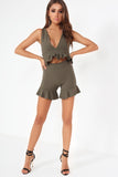 Dona Khaki Frill High Waist Shorts