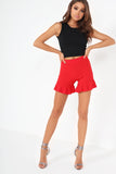 Dona Red Frill High Waist Shorts