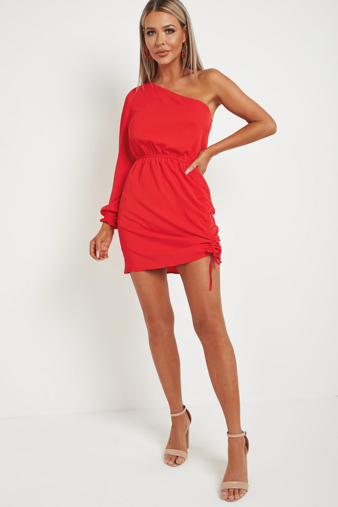 Donika Red One Shoulder Ruched Mini Dress