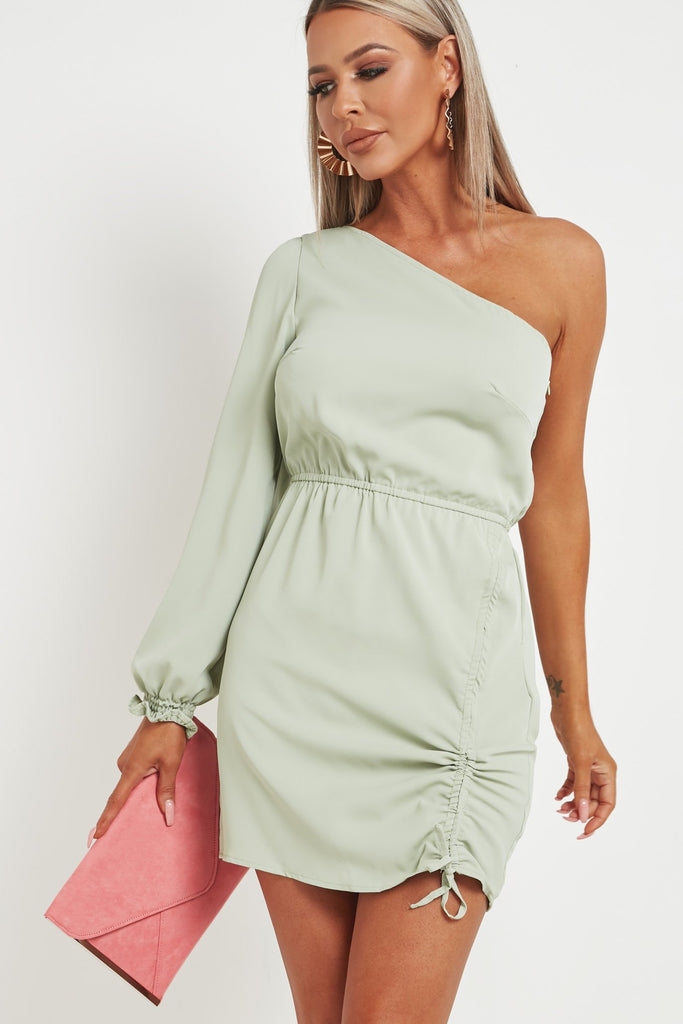 Donika Sage One Shoulder Ruched Mini Dress