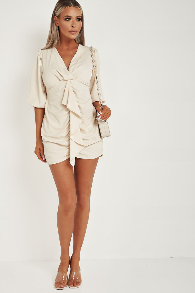 Donna Nude Ruffle Front Mini Dress