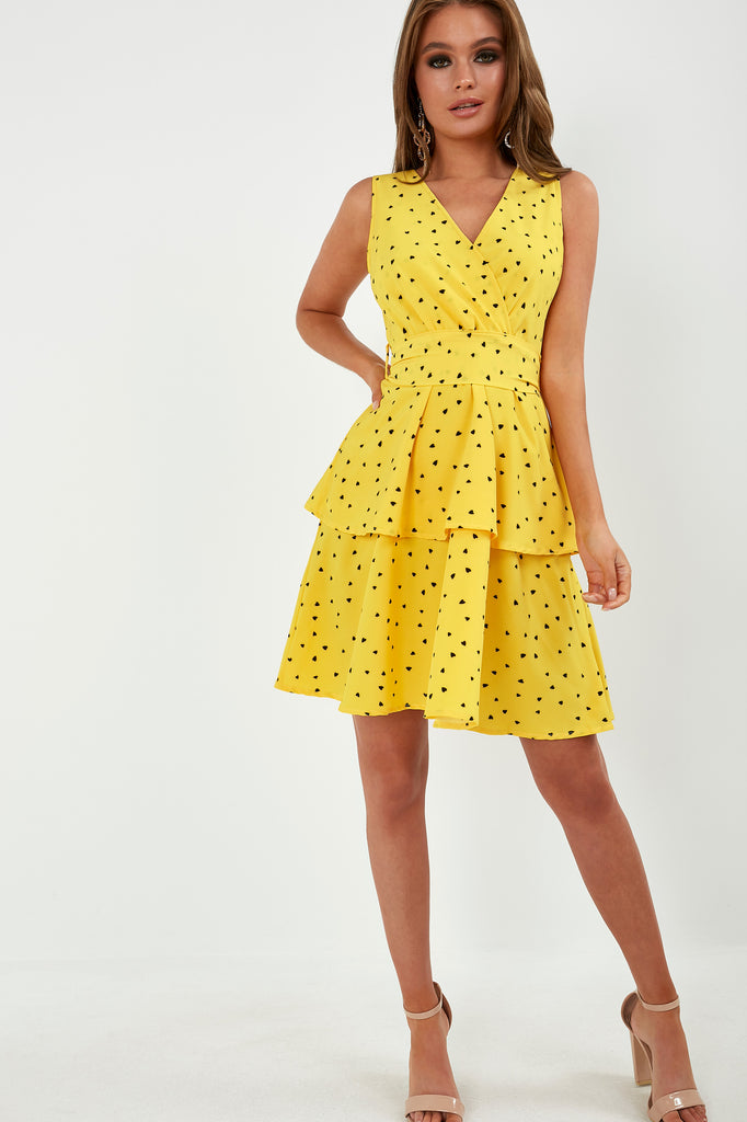 Donna Yellow Heart Print Wrap Front Dress