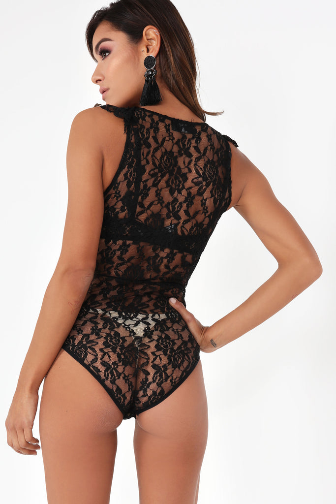 Doreen Black Sheer Lace Bodysuit