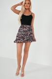 Doris Black and Purple Ditsy Print Ruffle Skirt