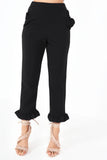 Doris Black Frill Hem Trousers