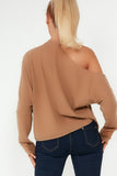 Doris Camel Cold Shoulder Top