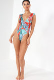 Dorita Red Leaf Print Swimsuit