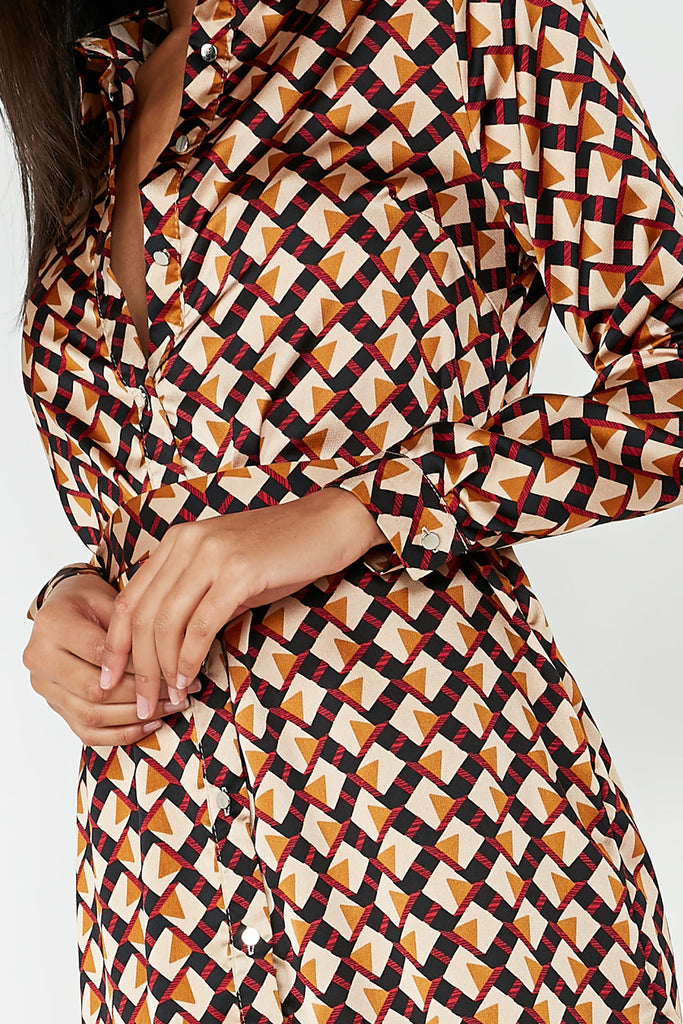 Dorothy Black & Stone Geometric Shirt Dress