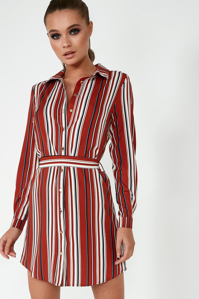 Dorothy Brown Striped Shirt Dress