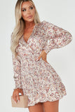 Dory Cream Floral Shirred Body Satin Dress