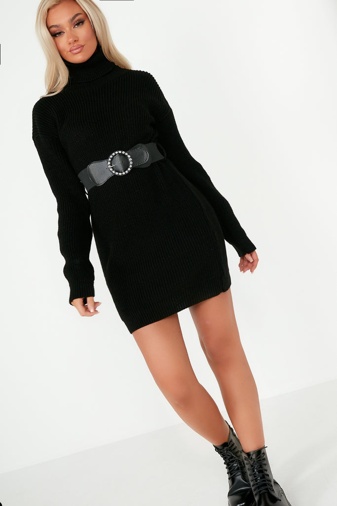 Dot Black Knit Belted Jumper Dress