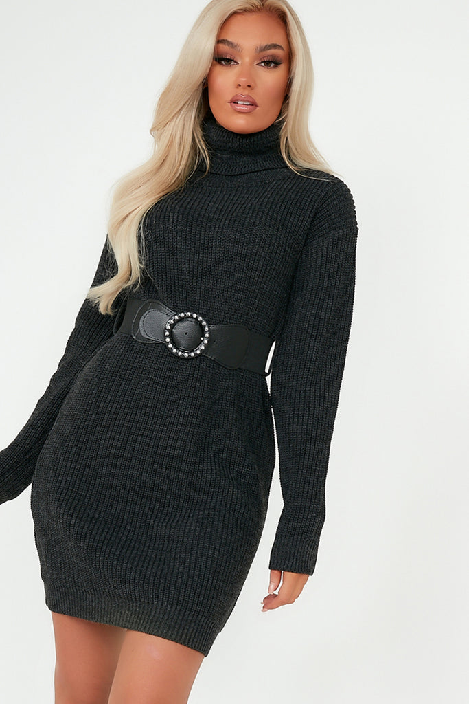 Dot Black Knit Belted Jumper DressDot Charcoal Knit Belted Jumper Dress