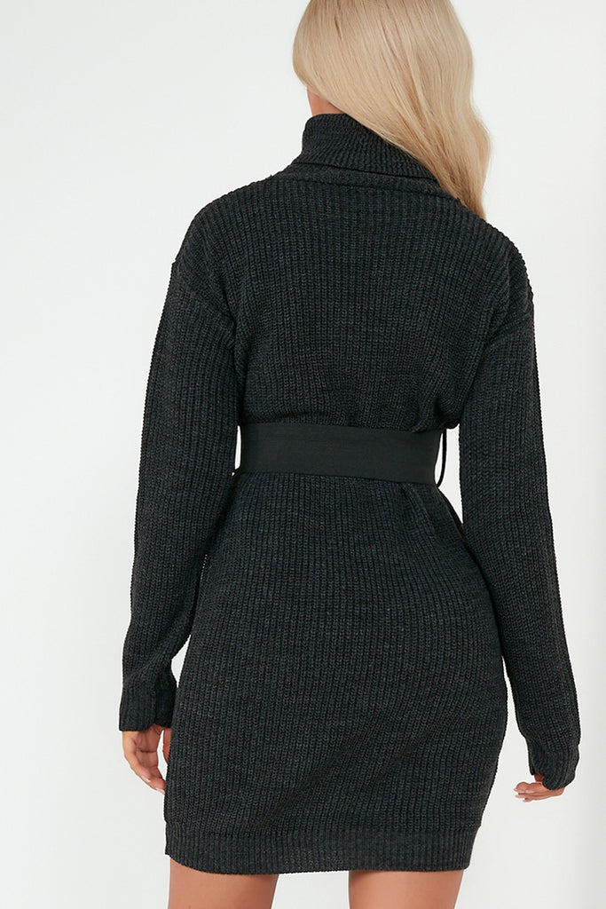 Dot Charcoal Knit Belted Jumper Dress