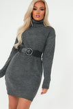 Dot Grey Knit Belted Jumper Dress