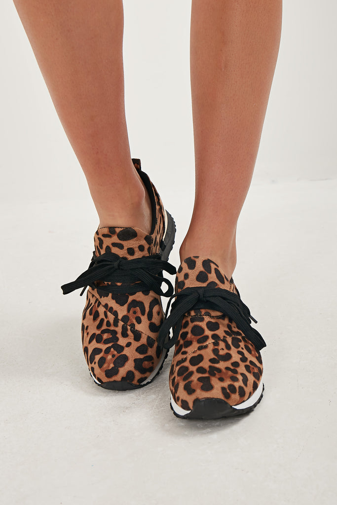 Dotty Leopard Print Lace Up Trainers