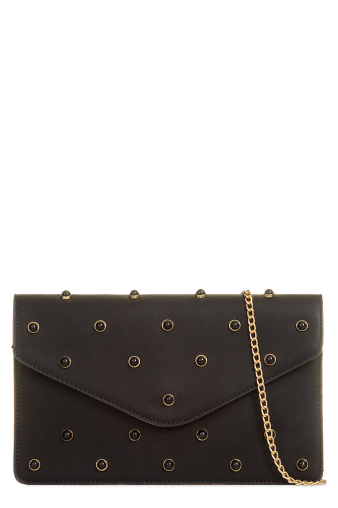 Drake Black Stone Studded Clutch Bag