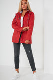Dre Red Hooded Rain Mac