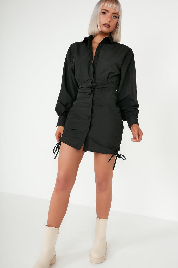 Dream Black Ruched Shirt Dress