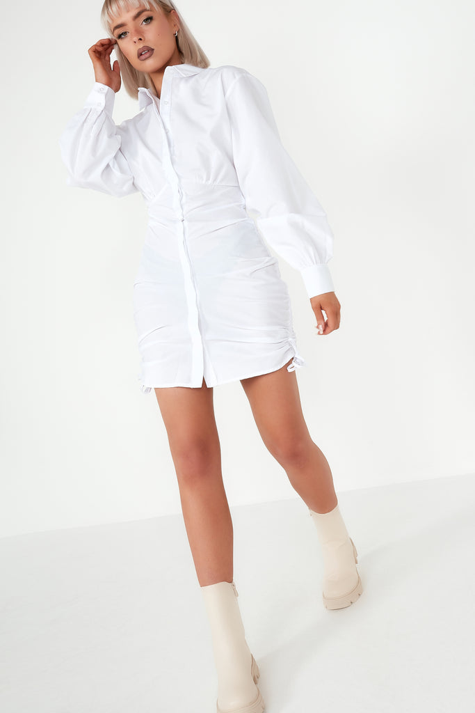 Dream White Ruched Shirt Dress