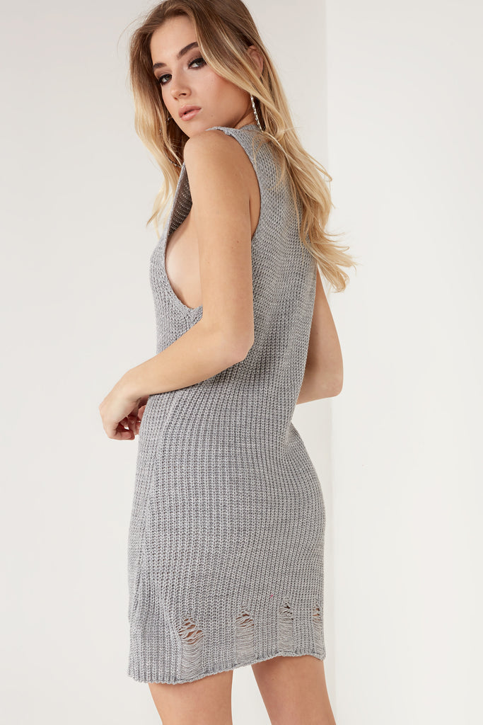 Dree Grey Shimmer Knit Dress