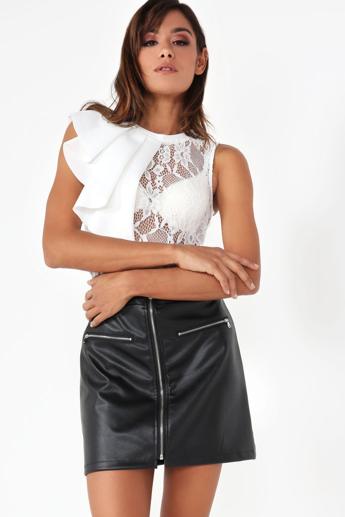 Drew Black Leatherette Zip Skirt