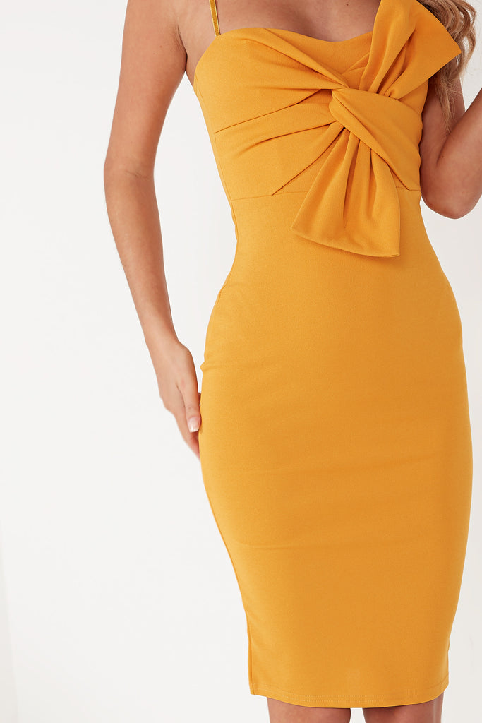 Eastah Mustard Bow Front Dress